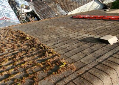 Cleaning moss from roof shingles to restore asphalt shingles